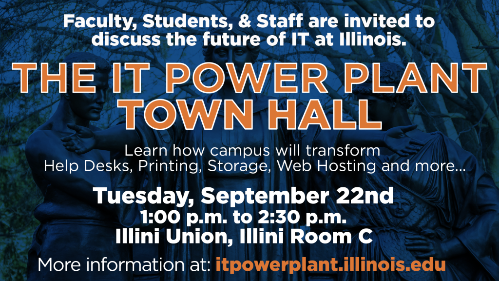 A sign advertising the IT Power Plant Town Hall